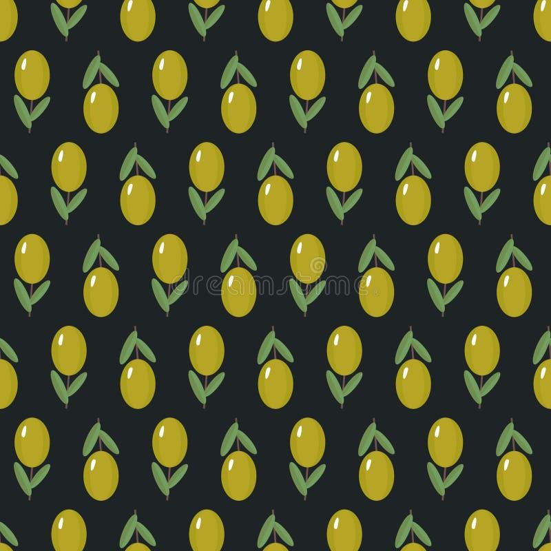 Olijven naadloos patroon op donkere achtergrond vector illustratie
