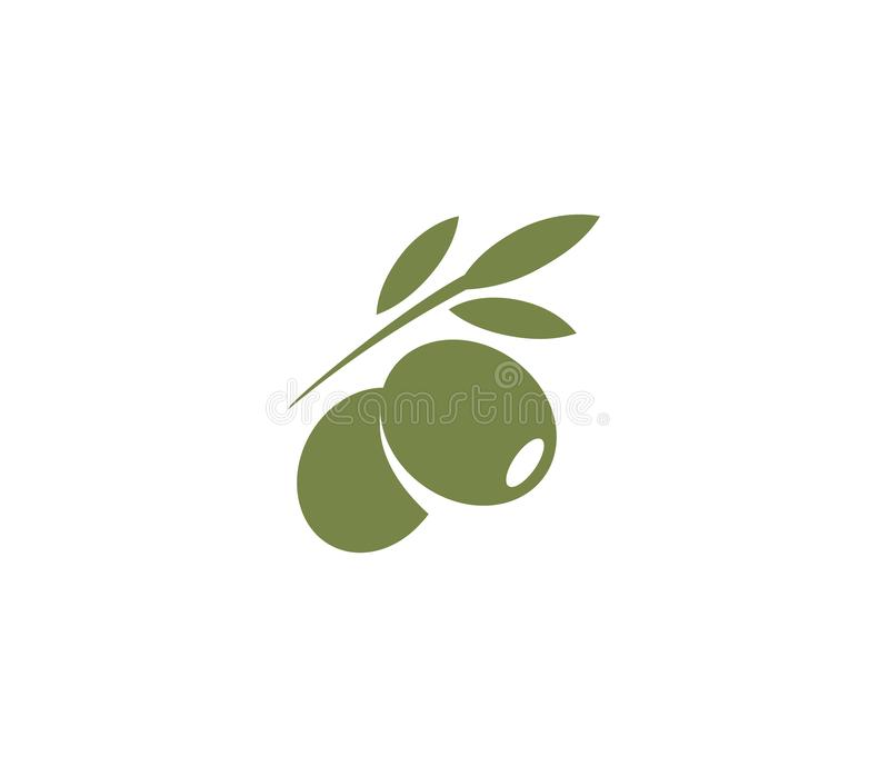 Olijvenembleem Het element van het olijfolieembleem Groene olijftak, bladeren en fruit Natuurvoedingteken royalty-vrije illustratie