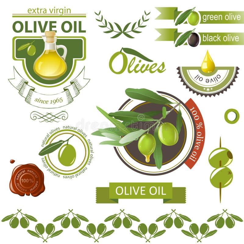 Olijvenemblemen stock illustratie