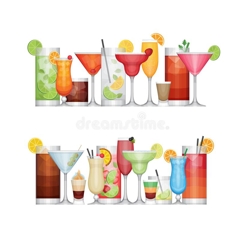 Olik alkoholcoctail Drinkar och drycker Plan design vektor illustrationer