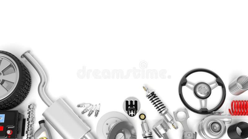 Olik bildelar och tillbehör stock illustrationer