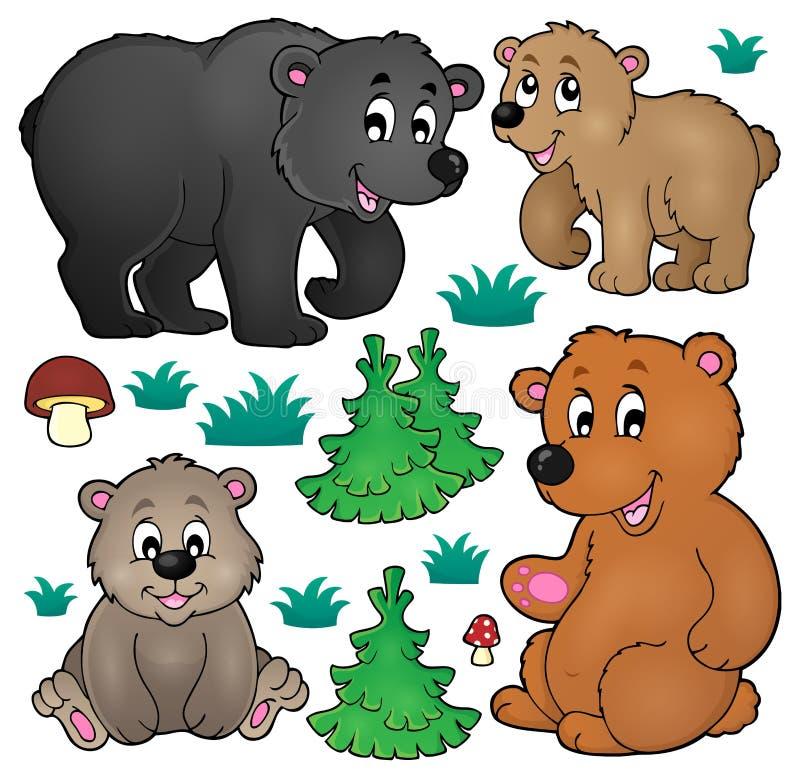Olik björntemasamling 1 stock illustrationer