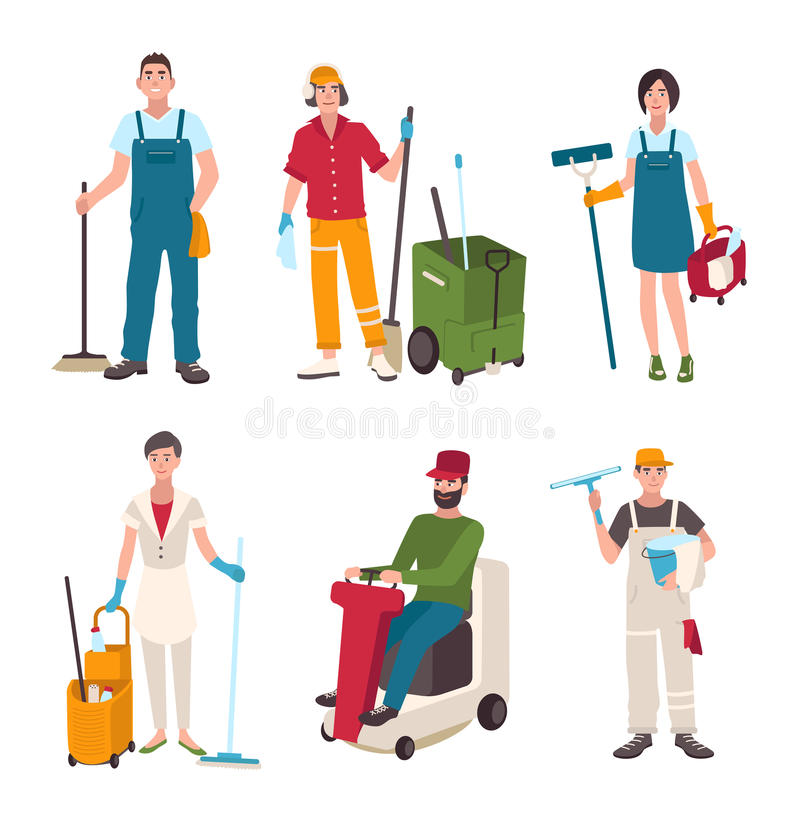 Olik dörrvaktuppsättning Folk med packningen för lokalvårdutrustningfönster stock illustrationer