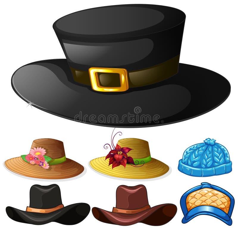 Olik design av hattar för man och kvinnlig royaltyfri illustrationer