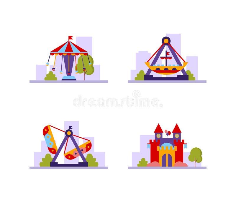Olik dragningsuppsättning för nöjesfält, karuseller, slottvektorillustration vektor illustrationer