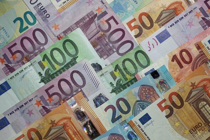 olik euro för sedlar arkivfoto