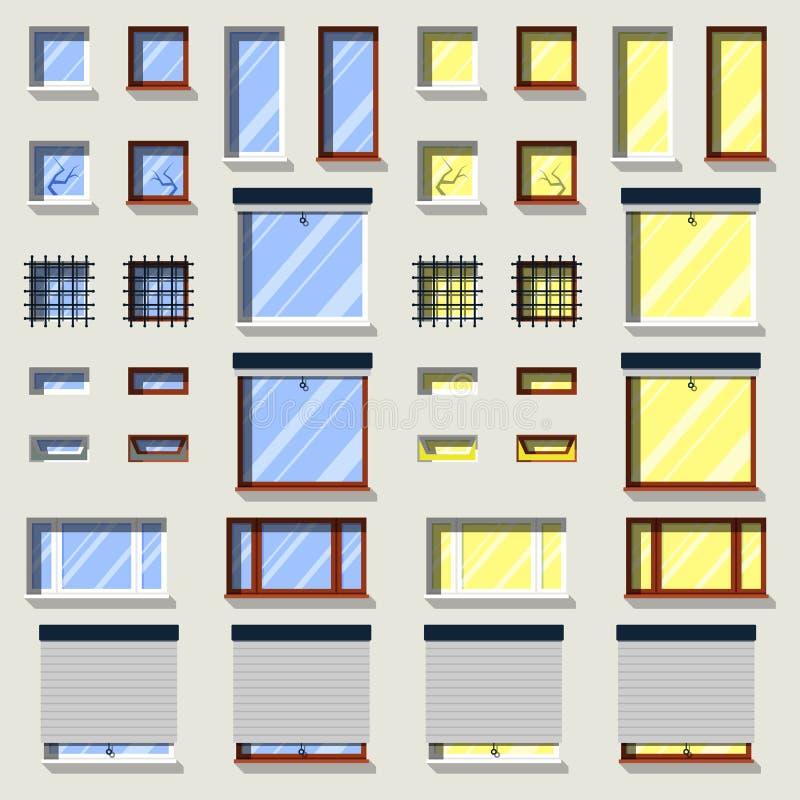 Olik fönsteruppsättning Plana yttre symboler vektor illustrationer