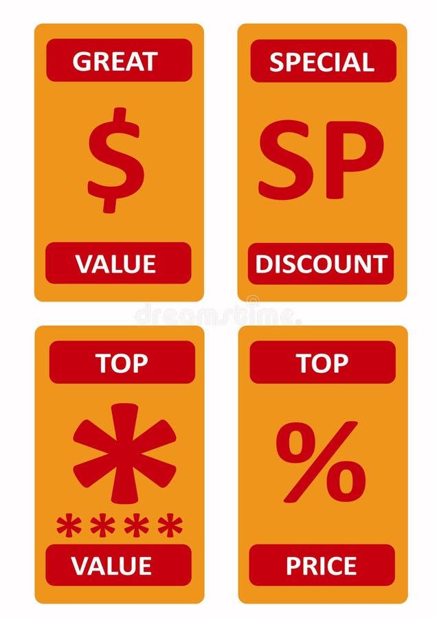 Olik försäljningslogosamling vektor illustrationer