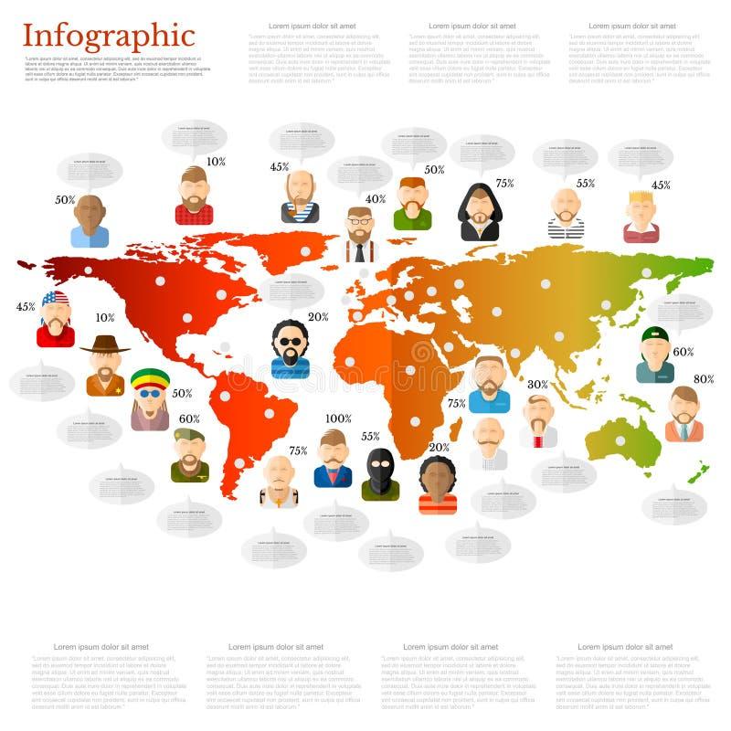 Olik folksymbol med anförandebubblan nära dem på världskartan plan bakgrundskommunikation royaltyfri illustrationer