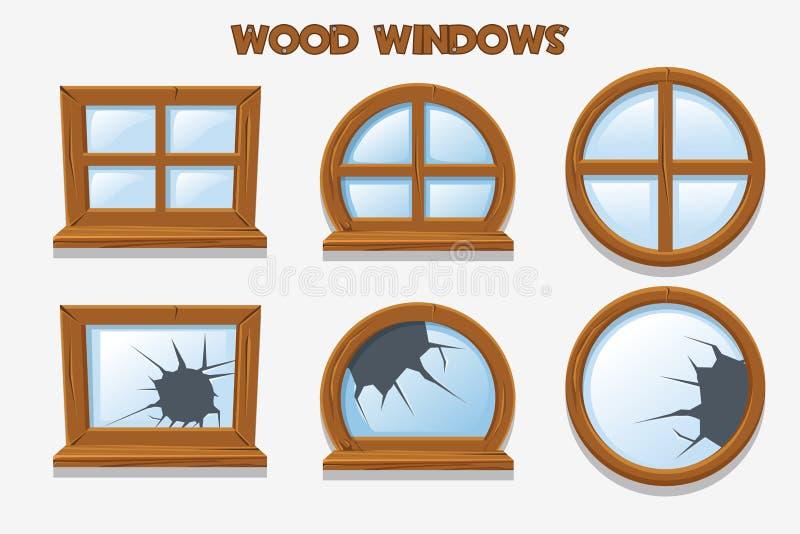 Olik form och gamla splittrade wood fönster, tecknad filmbyggnadsobjekt Beståndsdelhemmiljöer royaltyfri illustrationer