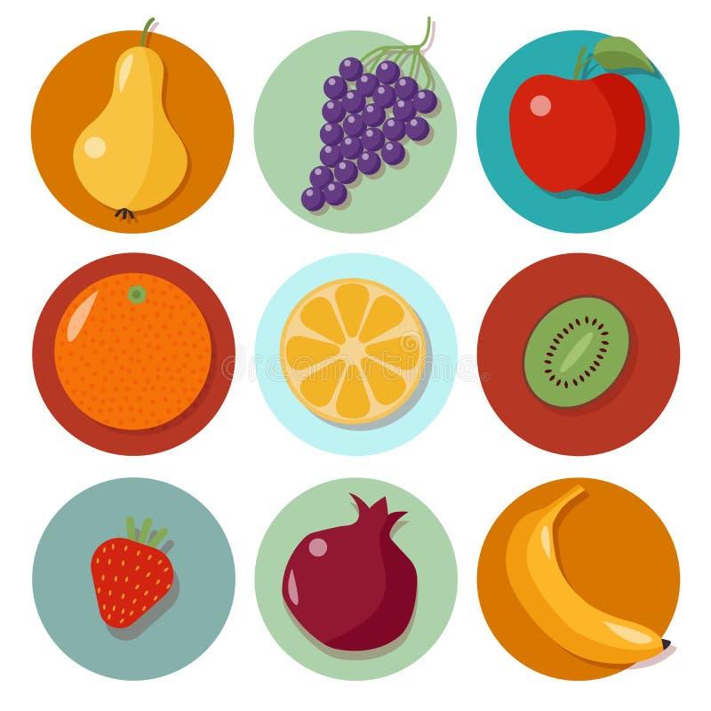 olik frukt bär fruktt seten för orangen för grapefruktkiwicitronen bär fruktt symboler royaltyfri illustrationer
