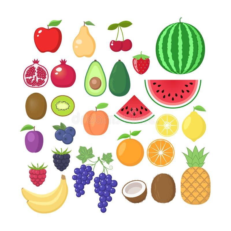 Olik fruktsamling Vektorn bär frukt tecknad filmuppsättningen Fruktclipart royaltyfri illustrationer