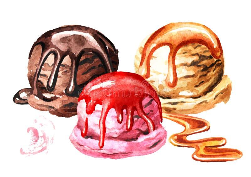 Olik glass med sirap Dragen illustration för vattenfärg som hand isoleras på vit bakgrund vektor illustrationer
