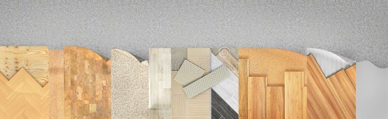 Olik golvtypbeläggning Uppsättning av stycken av den olika golvbeläggningen royaltyfri illustrationer