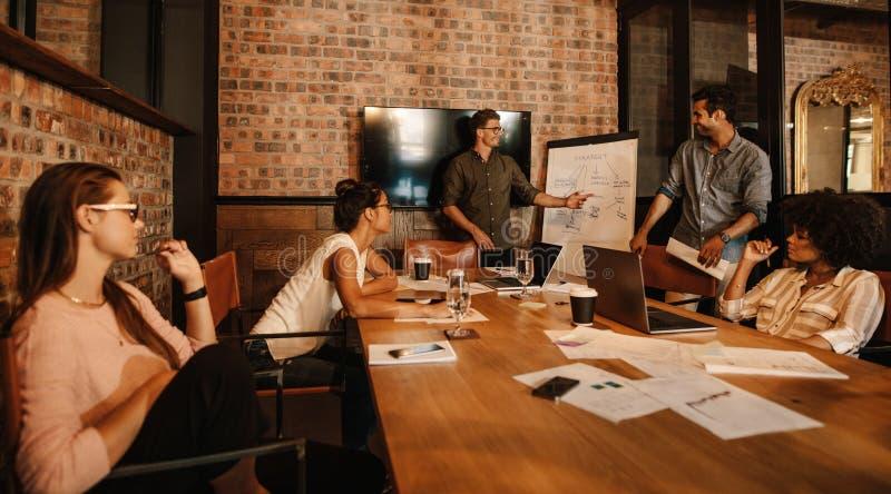 Olik grupp av anställda under ett möte arkivfoto