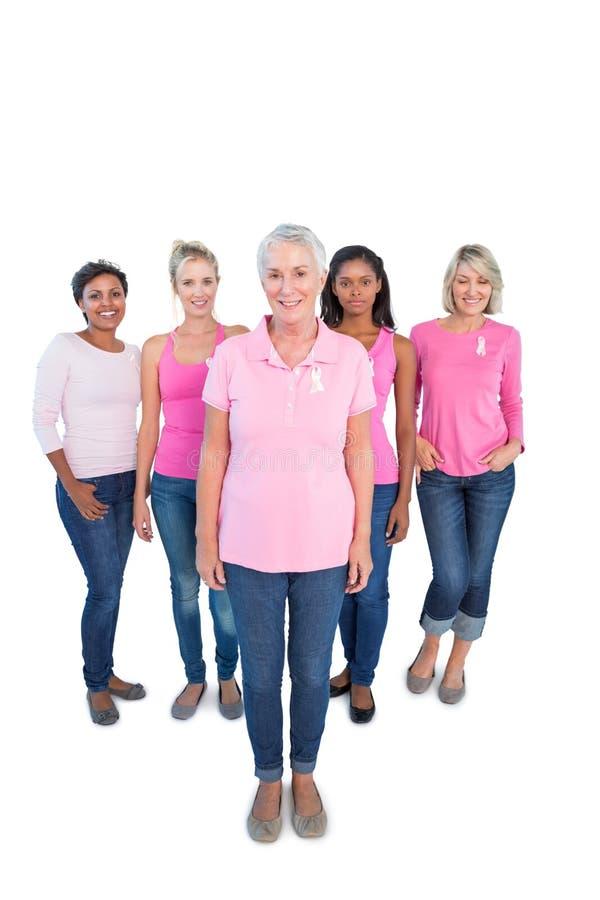 Olik grupp av lyckliga kvinnor som bär rosa färgblast och bröstcancer arkivbild
