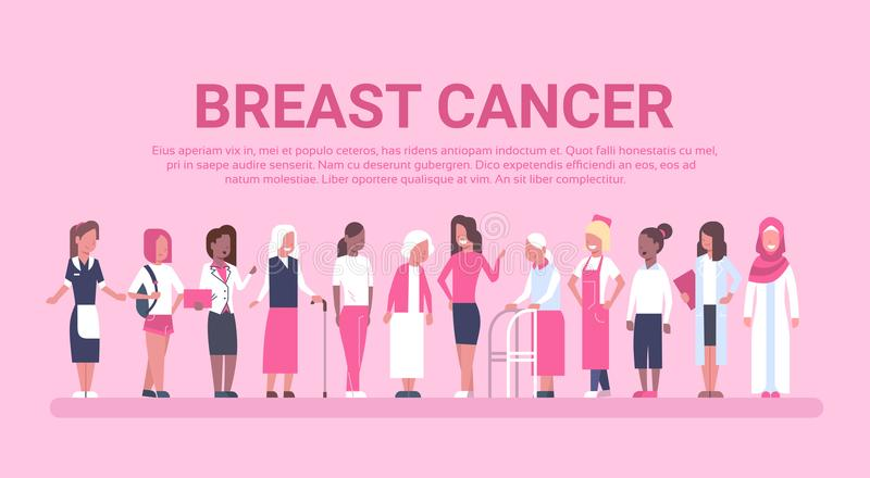 Olik grupp för bröstcancerdag av affischen för för kvinnasjukdommedvetenhet och förhindrande royaltyfri illustrationer