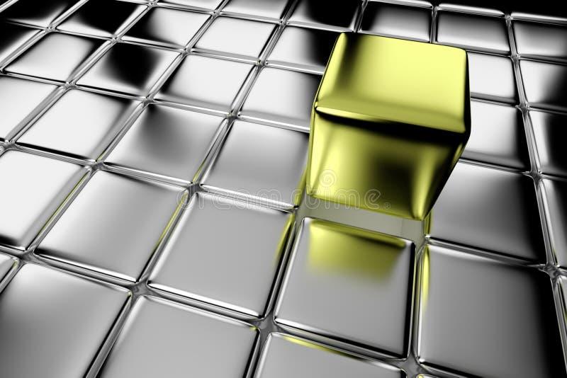 Olik guld- kub som står ut i folkmassa vektor illustrationer