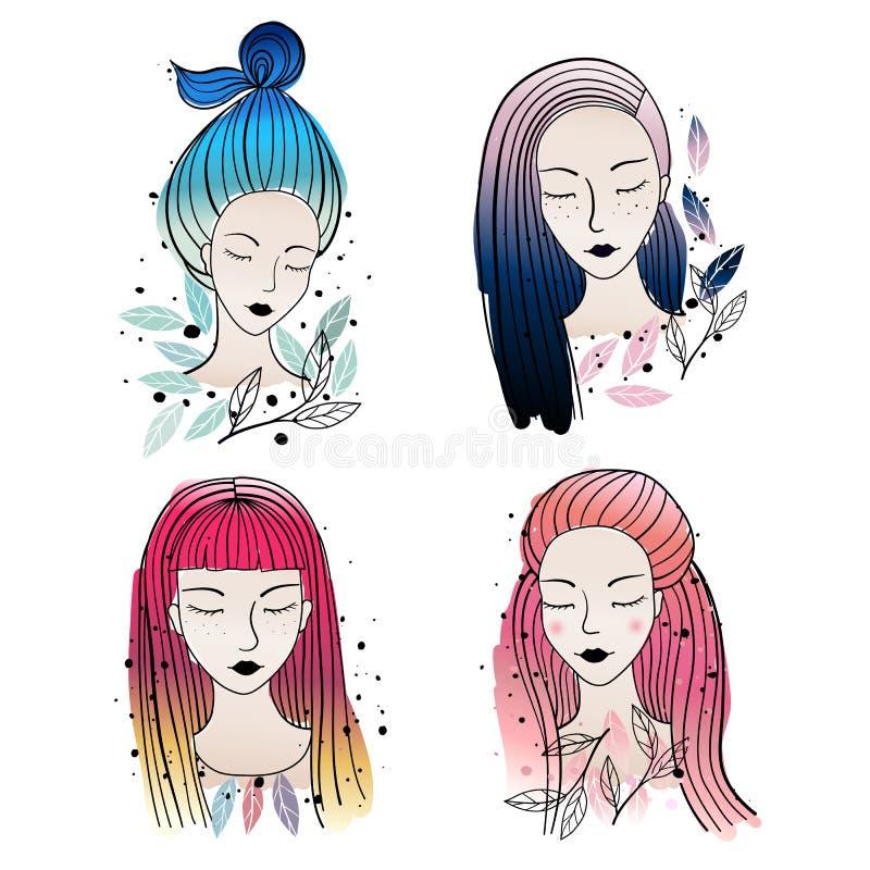 Olik hårfärger och frisyr för flickor stock illustrationer