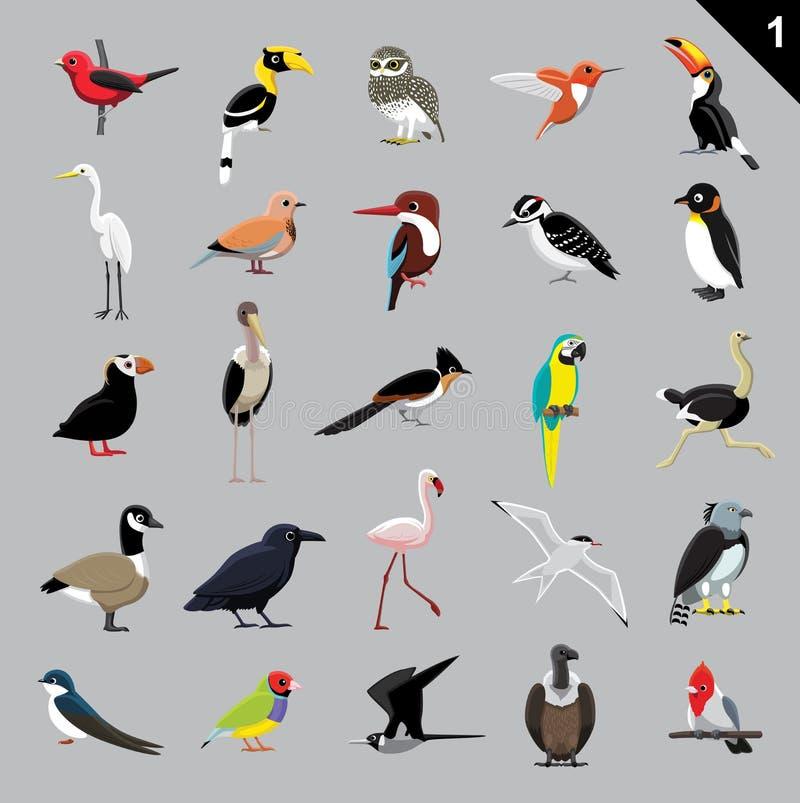 Olik illustration 1 för fågeltecknad filmvektor vektor illustrationer