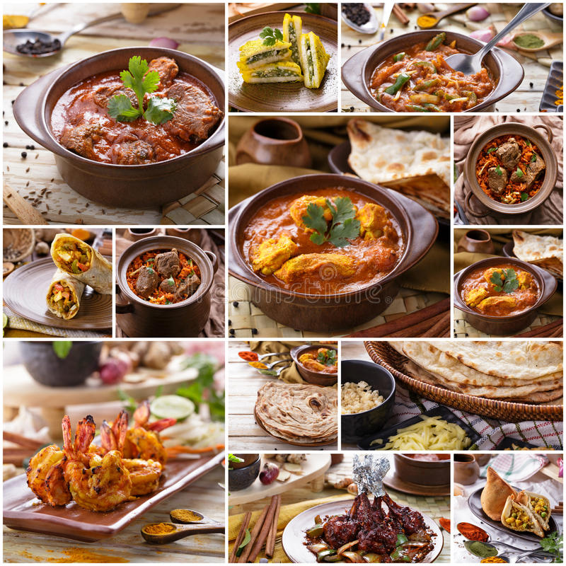 Olik indisk matbuffé, collage fotografering för bildbyråer