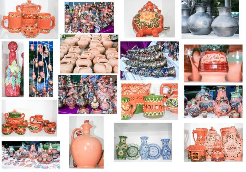 Olik keramisk krukmakeri som målas i gammal stil royaltyfri foto