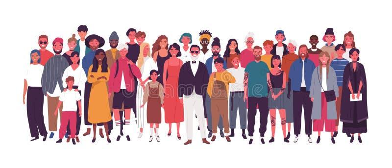 Olik multietnisk eller multinationell grupp människor som isoleras på vit bakgrund Äldre och unga män, kvinnor och ungar vektor illustrationer