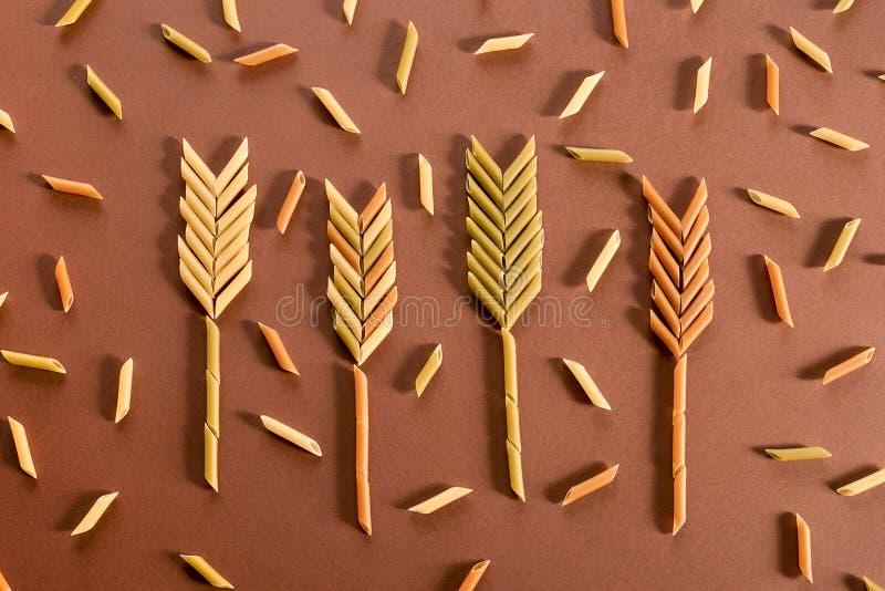 Olik pasta i form av r?r av bruna, gula och gr?na f?rger och vete?rat som g?ras av dem arkivbild
