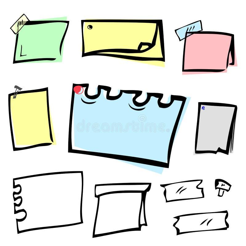 Olik pastellfärgad färg 8 och tomt anmärkningspapper för form med häftstiftet och tejp royaltyfri illustrationer
