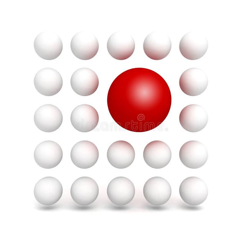 Olik röd bollsfär i annan vit folkmassa stock illustrationer