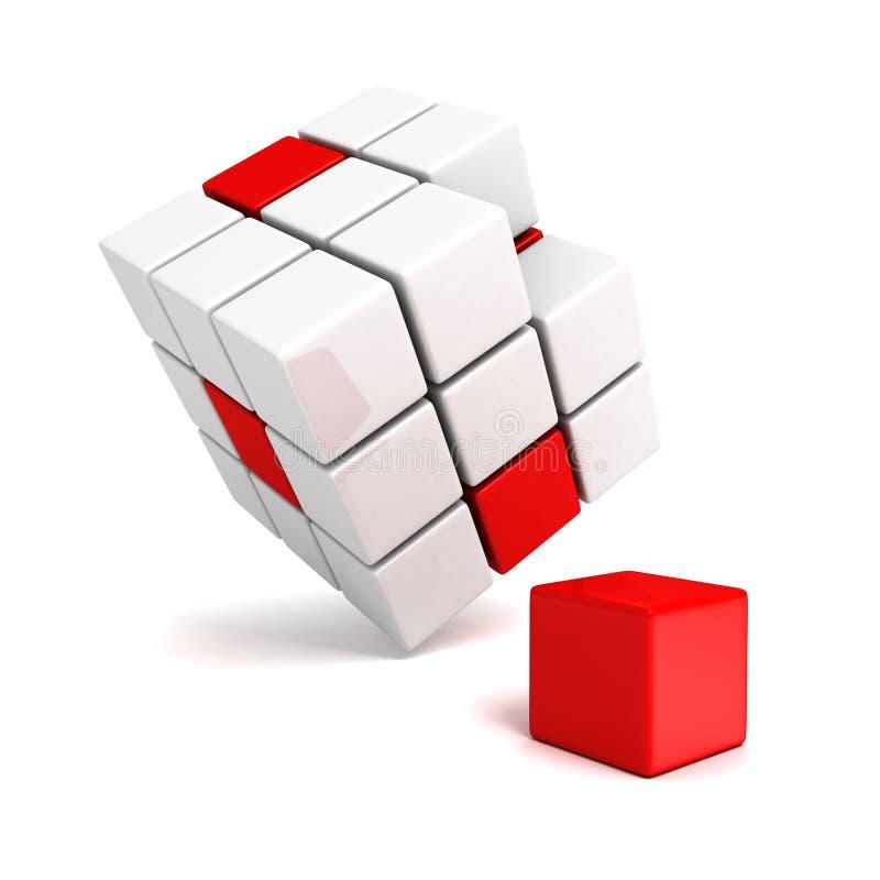 Olik röd för kub fronfolkmassa ut av vita kvarter stock illustrationer