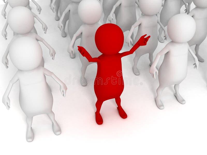 Olik röd man 3d i den stora gruppen av andra vita personer royaltyfri illustrationer