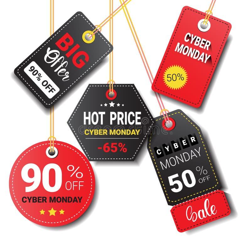 Olik rabatt Logo Design för shopping för samling för symboler för Cybermåndag Sale etiketter uppsättning isolerad online- vektor illustrationer