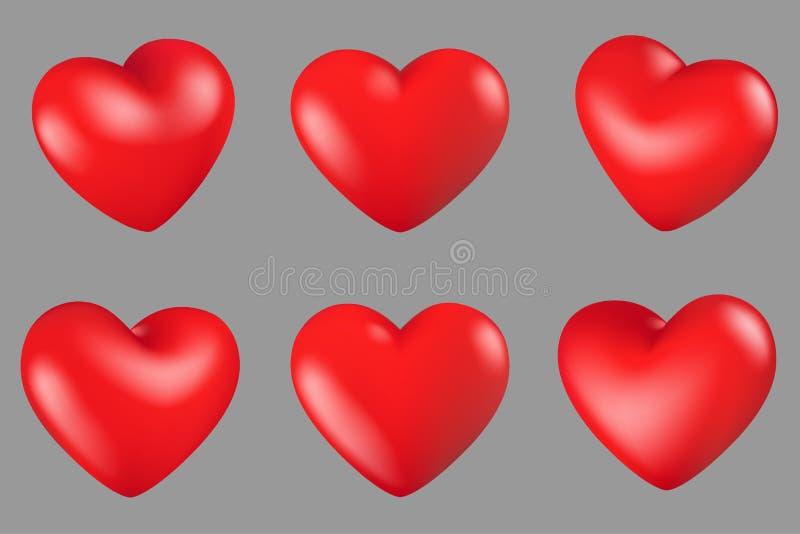 Olik rotation 6 för röda hjärtor stock illustrationer