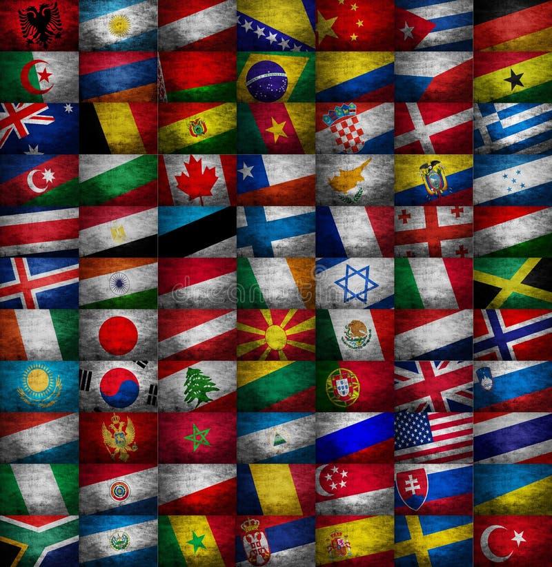 Olik samling för landsflaggor royaltyfri foto