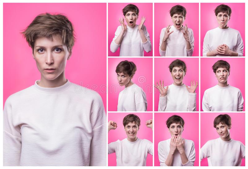 Olik sinnesrörelsecollage Uppsättning av den unga emotionella flickan över rosa bakgrund Olika sinnesrörelser för kvinnlig fotografering för bildbyråer