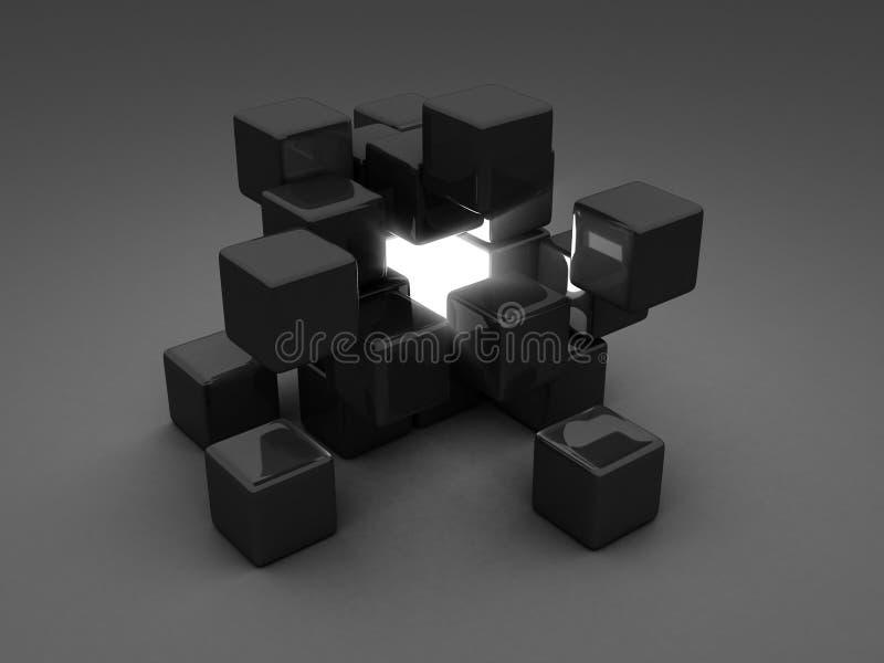 Olik skinande ljus kub Incide av den mörka gruppen Egenart C stock illustrationer