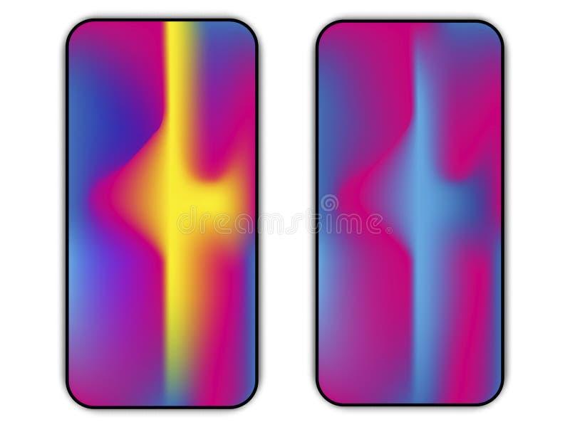 Olik smartphoneskärmuppsättning med hack och färgrikt abstrakt begrepp royaltyfri illustrationer