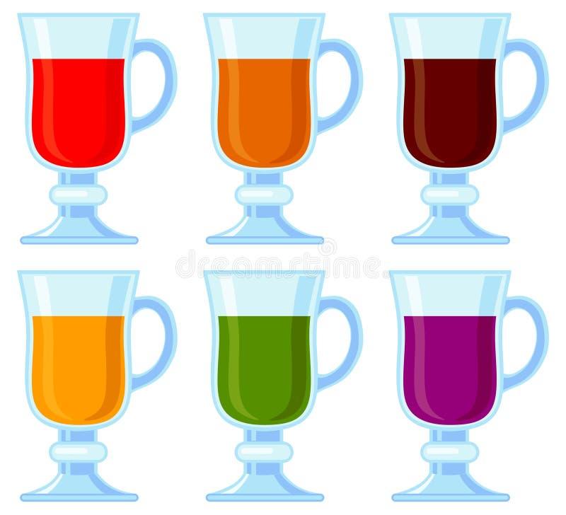 Olik smoothieuppsättning för färgrik tecknad film royaltyfri illustrationer