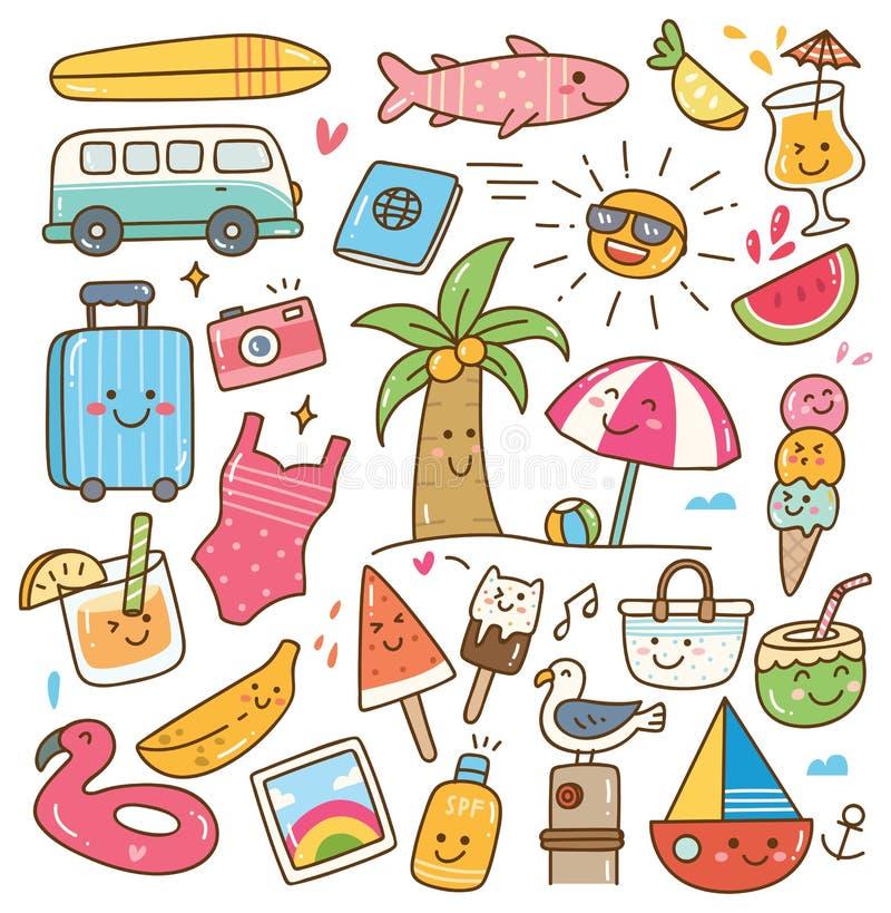 Olik sommar gällde objekt i kawaiistilillustration stock illustrationer