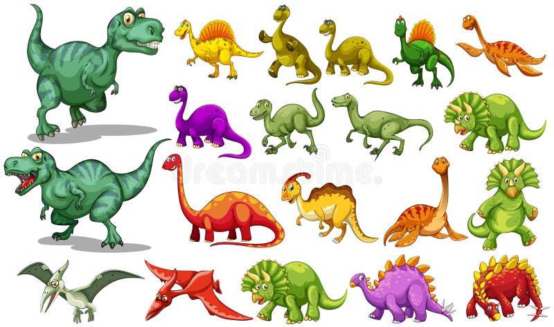Olik sort av dinosaurier vektor illustrationer