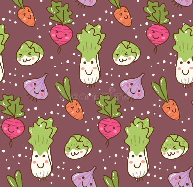 Olik sort av grönsakkawaiibakgrund royaltyfri illustrationer