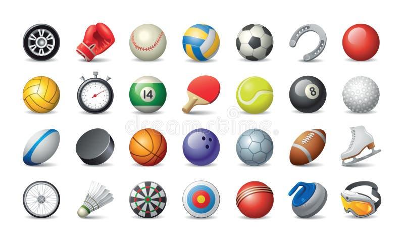 Olik sportbollar och utrustning royaltyfri illustrationer