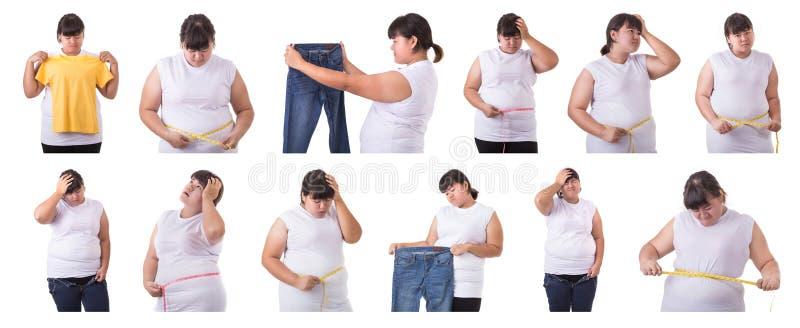 Olik stående för samling av den feta asiatiska kvinnan som isoleras på whi royaltyfria foton