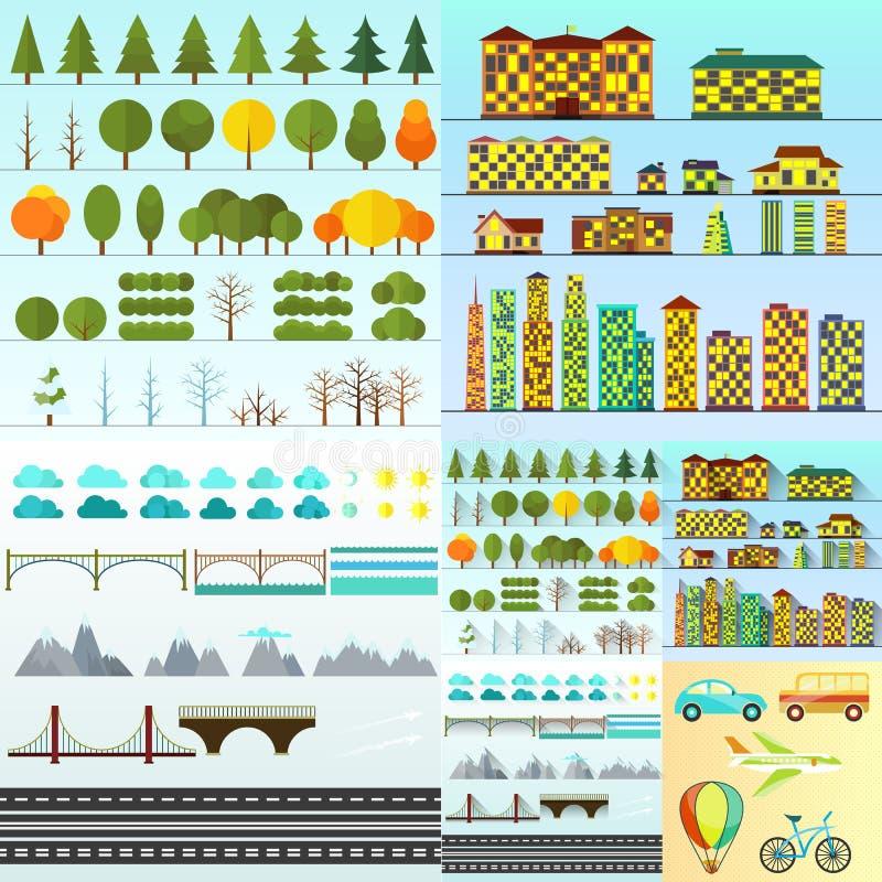 Olik stads- isolerad objektsamling stock illustrationer