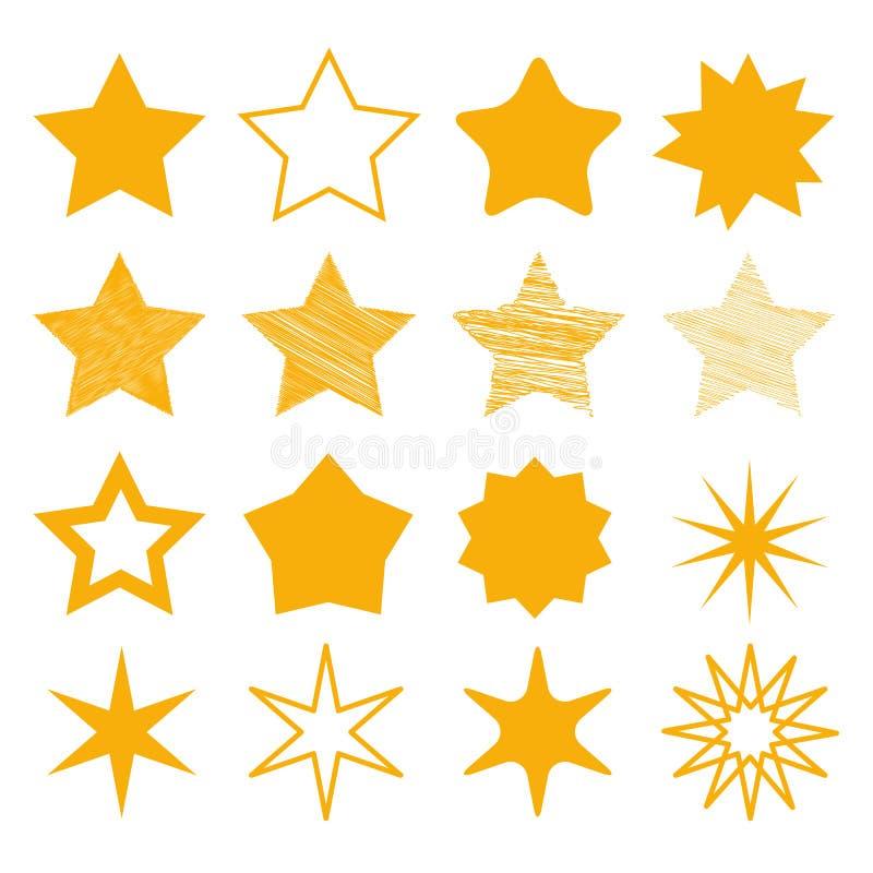 Olik stjärnasamling - gul vektorillustration - som isoleras på vit stock illustrationer