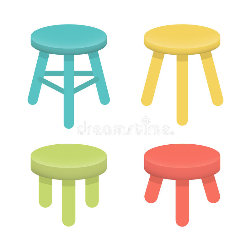 Olik stol med vektoruppsättningen för tre ben stock illustrationer
