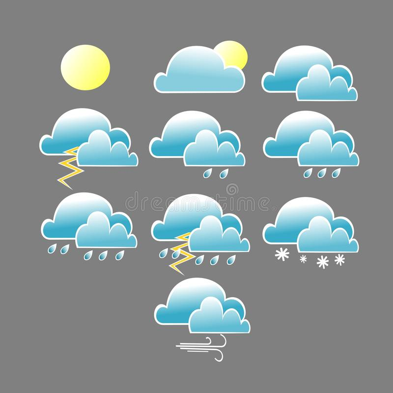 Olik symbol för vädervillkor med det blåa molnet stock illustrationer