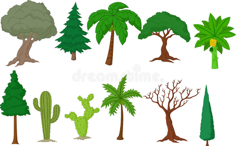 Olik trädsamling stock illustrationer