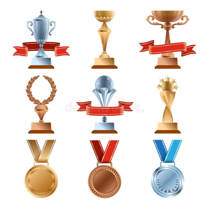 Olik troféuppsättning Guld- utmärkelse för mästerskap Guld-, brons- och silvermedalj och koppar av vinnare stock illustrationer